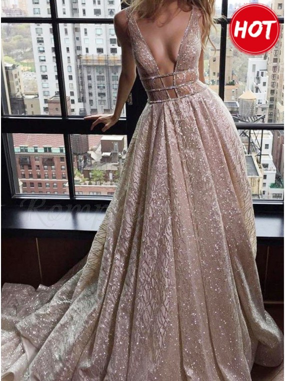 0a8cf7ccbf A-Line Deep V-Neck Court Train Backless Prom Dress with Sequins