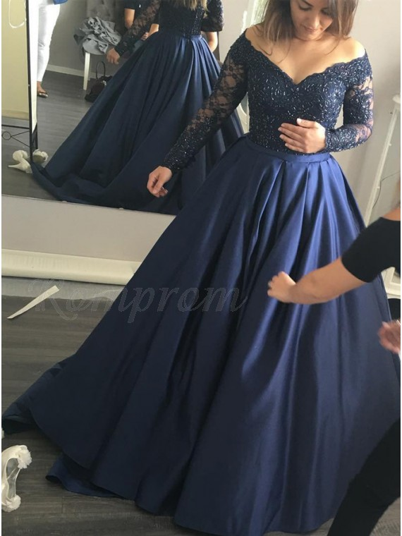 Ball Gown Off-the-Shoulder Long Sleeves Beaded Navy Blue Prom Dress