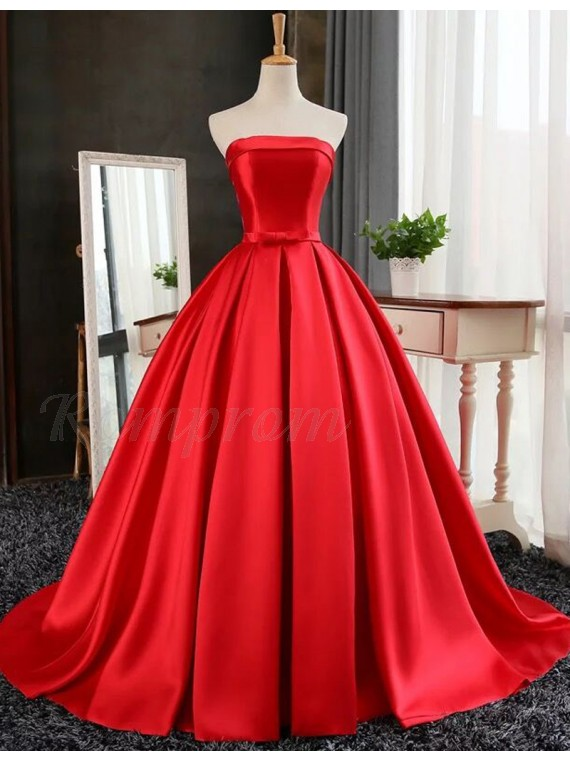 Ball Gown Strapless Floor Length Red Prom Dress with Pleats ...