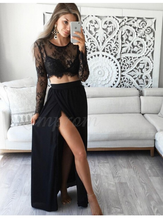 Two Piece Round Long Sleeves Sexy Black Prom Dress with Lace Top