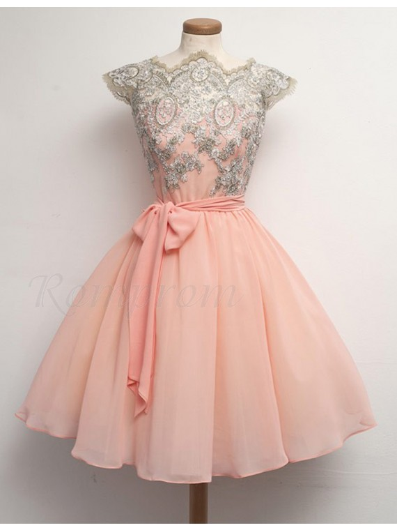 A-Line Scalloped Cap Sleeves Sash Peach Knee-Length Prom Dress with ...