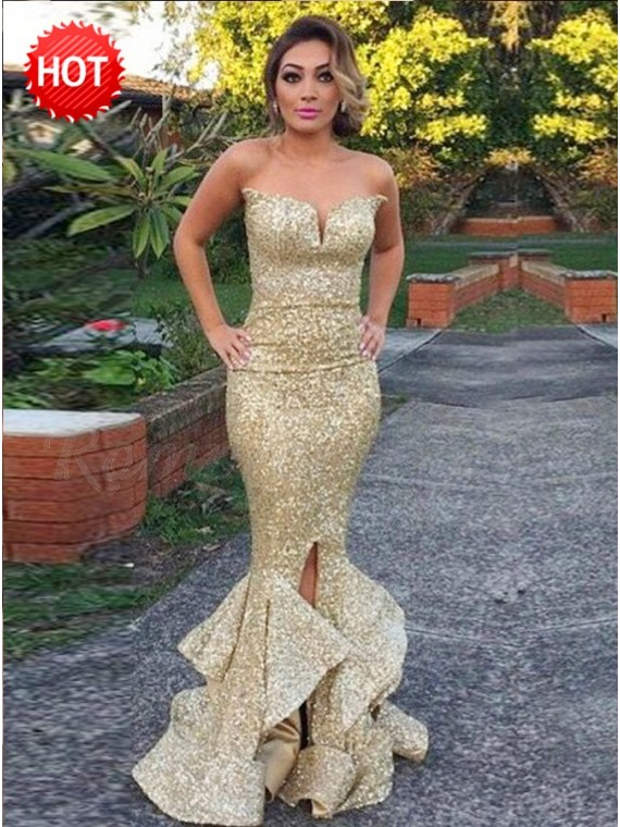 Mermaid Sweetheart Sexy Gold Sequin Prom Dress with Ruffles