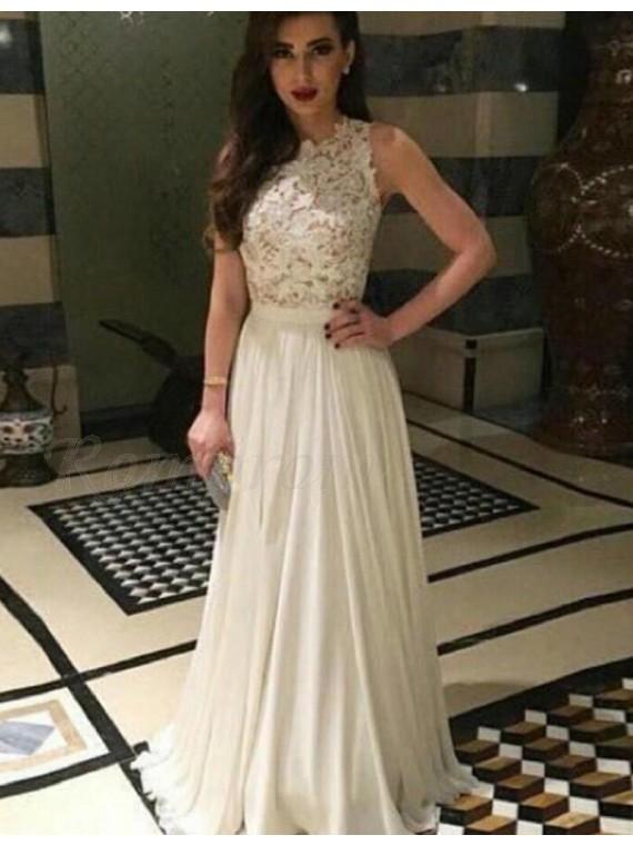 A-Line Bateau Sleevelss Floor-Length Pleats Ivory Prom Dress with Lace