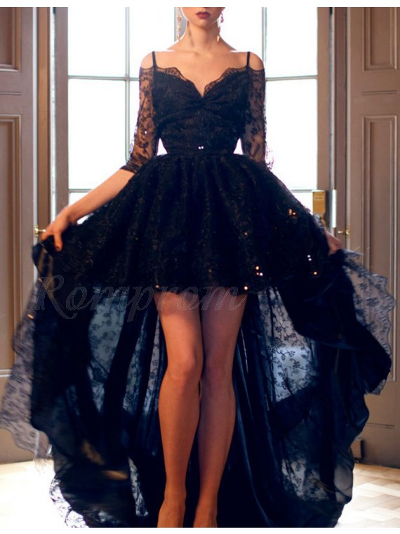 High Low Spaghetti Straps Half Sleeves Beaded Gorgeous Black Lace Prom Dress