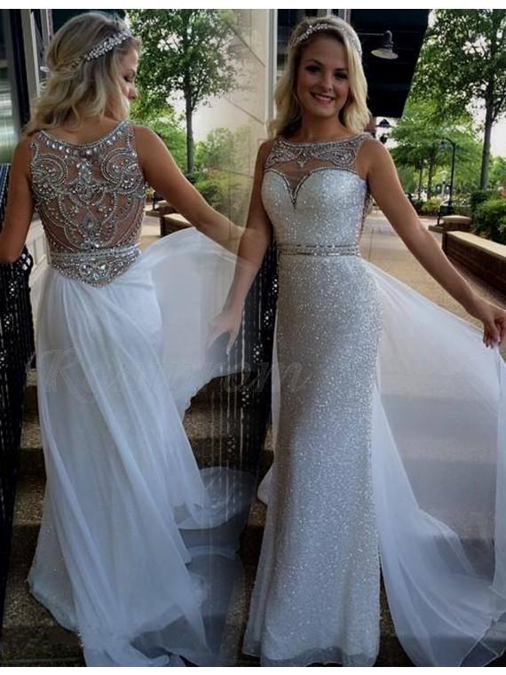 Sheath Bateau Detachable Illusion Back Silver Prom Dress with Beading