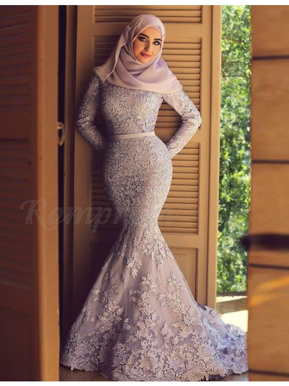 Mermaid High Neck Long Sleeves Sweep Train Pink Lace Prom Dress