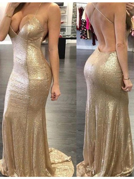Mermaid Spaghetti Straps Long Gold Prom Dress with Pleats