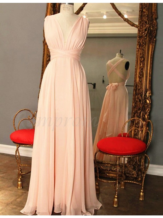 A-Line Deep V-Neck Criss-Cross Straps Long Pink Prom Dress with Pleats Bowknot