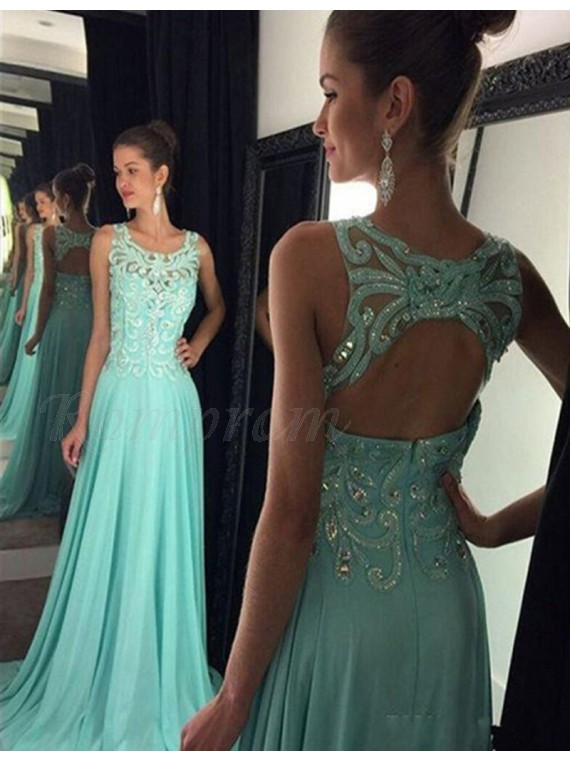 0c7faef0640f A-Line Round Neck Open Back Long Turquoise Prom Dress with Lace ...