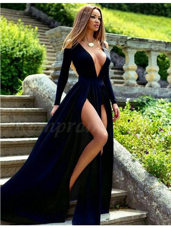 A-Line Deep V-Neck Long Sleeves Split Front Dark Navy Long Prom Dress