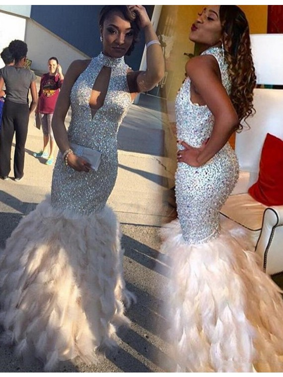 Gorgeous White High Neck Keyhole Floor Length Mermaid Prom Dress with Beading Feathers