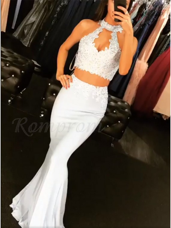 Two Piece Open Back Ligth Blue Mermaid Prom Dress with Appliques Beading