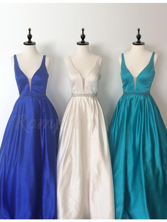 Decent V-Neck Sleeveless Floor Length A-line Prom Dress with Beading