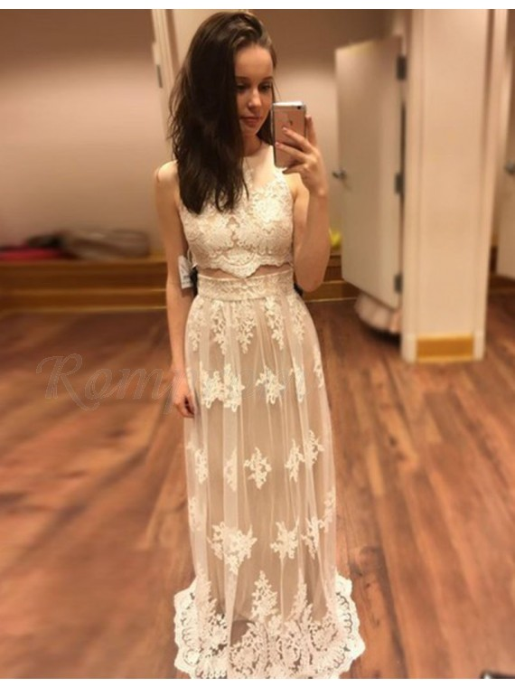 Two Piece A-line Round Neck Long Light Champagne Prom Dress with ...