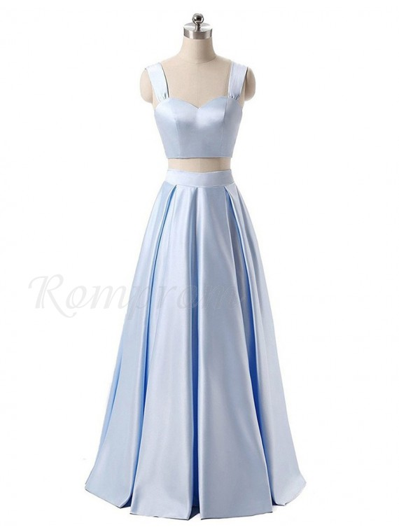 Two Piece A-line Scoop Sleeveless Floor Length Lavender Prom Dress with Pleats