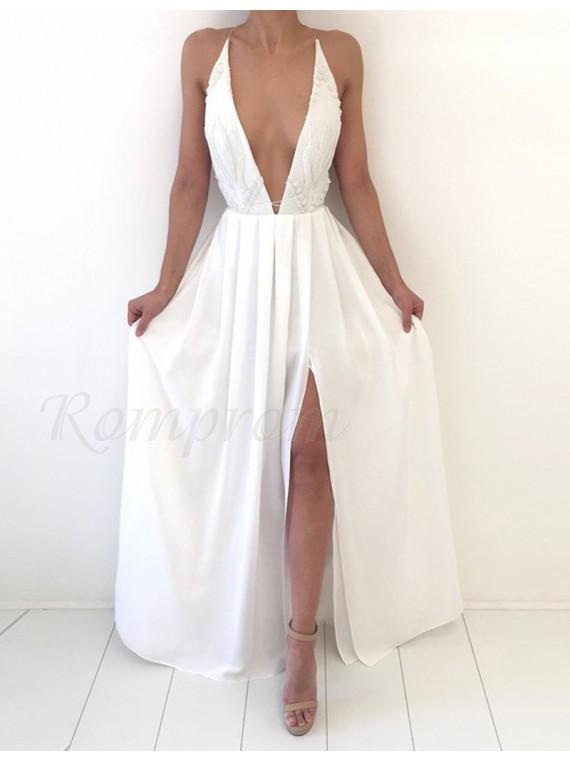 A-line Deep V-neck Split White Prom Dress with Lace Pleats - $135.89 ...