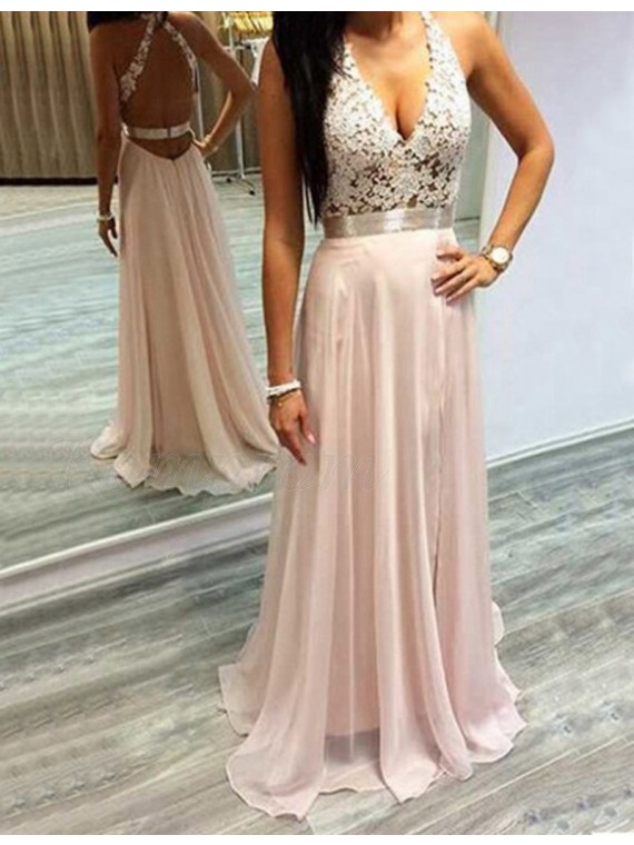 A-line Deep V-neck Sweep Train Pearl Pink Backless Prom Dress with Lace