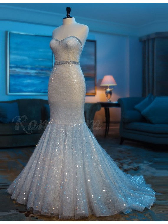 Ivory Sweetheart Sleeveless Lace Mermaid Prom Dress with Beading Sequins
