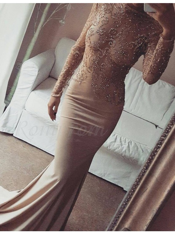 Mermaid Long Sleeves Open Back Beaded Champagne Prom Dress with Lace