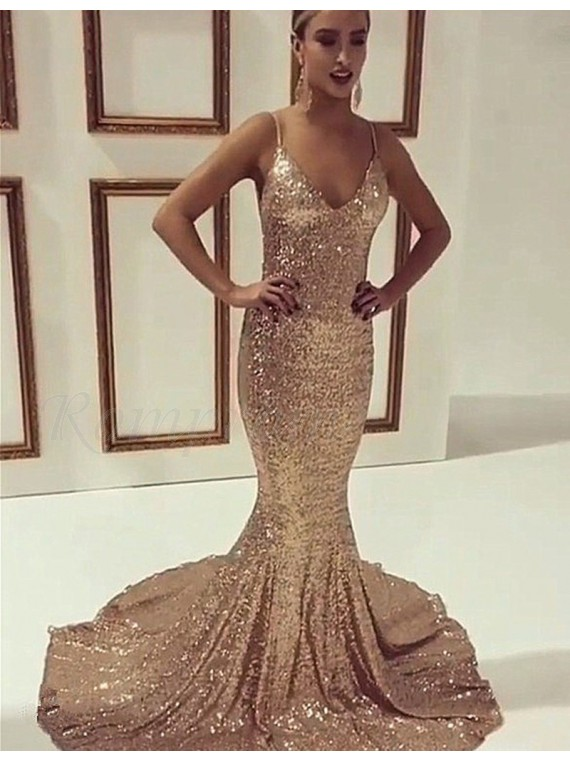 Gold Spaghetti Straps Sequined Backless Mermaid Prom Dress -  139.99 ...