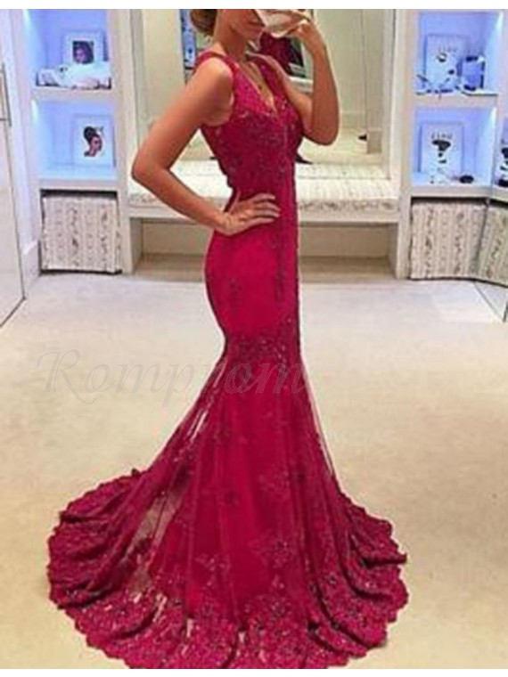 Mermaid V-neck Sweep Train Sleeveless Prom Dress with Appliques Beading