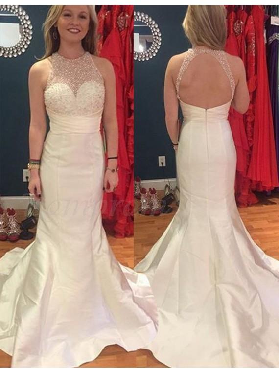 Mermaid Open Back Jewel Sweep Train Ivory Prom Dress with Beading