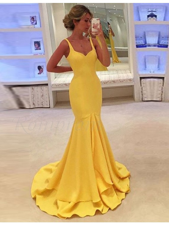 Straps Sleeveless Tiered Long Mermaid Formal Gown Yellow Prom Dress