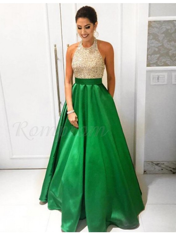 c11ff3587de A-line High Neck Sleeveless Floor Length Champagne Prom Dress with ...