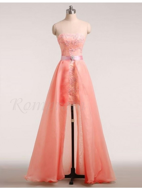 A-:Line Strapless Detachable Train Coral Prom Dress with Beading Appliques