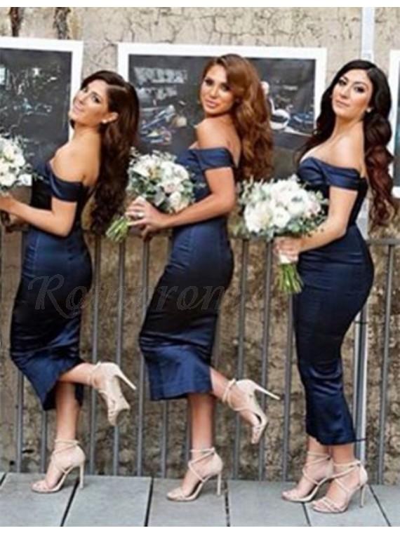 Sheath Off the Shoulder Short Sleeves Tea-Length Navy Blue Bridesmaid Dress