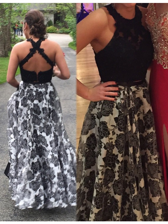 A-line Two Piece Jewel Sleeveless Floor Length Black Prom Dress with Beading