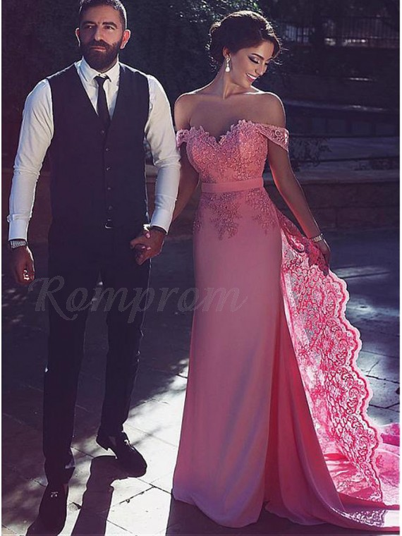 Sheath Off the Shoulder Detachable Train Pink Prom Dress with Lace
