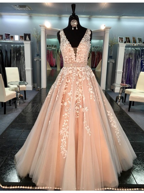 24b0b533045 A-line V-neck Sweep Train Peach Prom Dress with Appliques