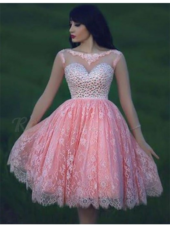 A-line Bateau Sleeveless Open Back Pink Short Lace Prom Dress with ...