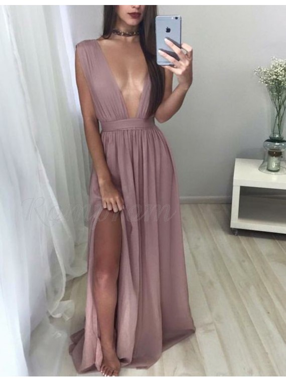 A-line Deep V Neck Floor Length Pleated Blush Prom Dress with Split