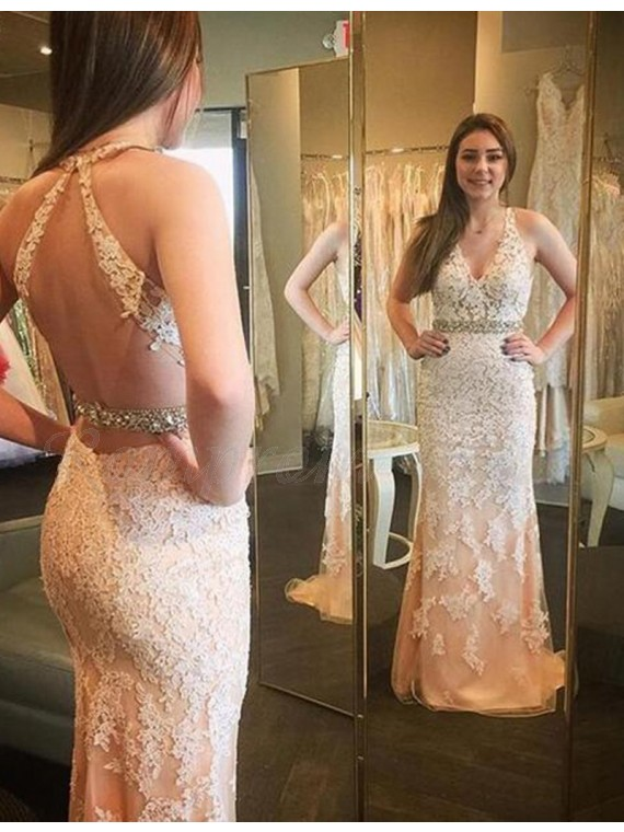 Mermaid V-neck Sweep Train Champagne Prom Dress with Appliques