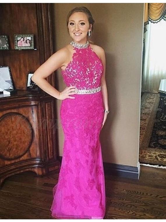 Mermaid High Neck Floor-length Fuchsia Prom Dress with Lace