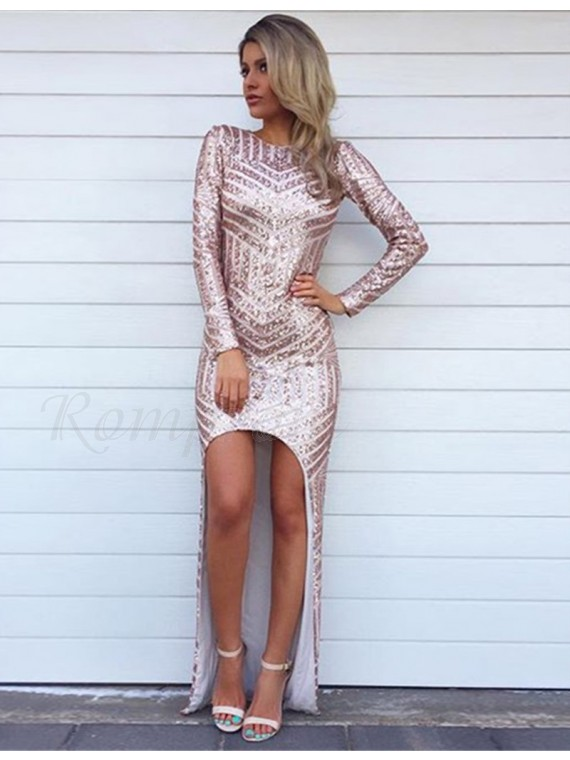 High Low Mermaid Long Sleeves Open Back Pink Sequined Prom Dress
