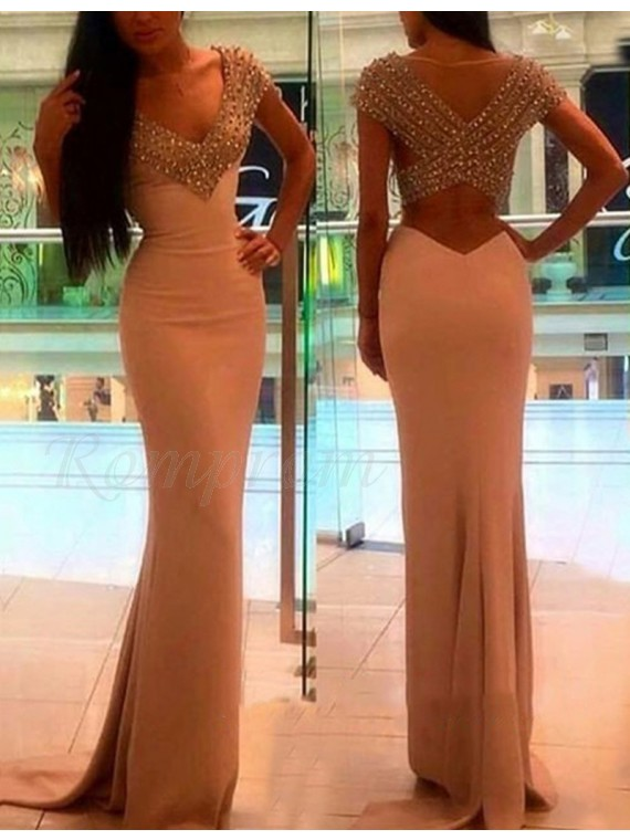 Mermaid V-neck Cap Sleeves Champagne Prom Dress with Beading