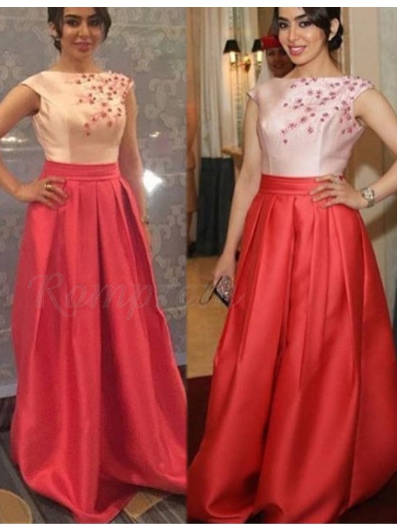 A-line Bateau Sweep Train Red Prom Dress with Appliques