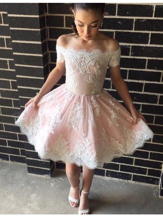 A-line Off-the-shoulder Above-knee Prom Dress with Appliques