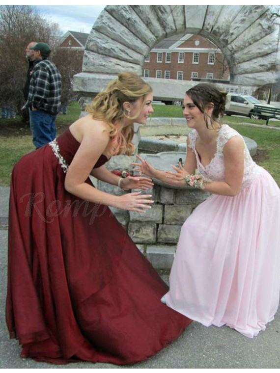 A-line Sweetheart Sweep Train Burgundy Prom Dress with Beading