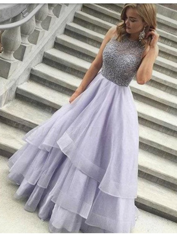 A-line Jewel Floor-length Lilac Prom Dress with Beading