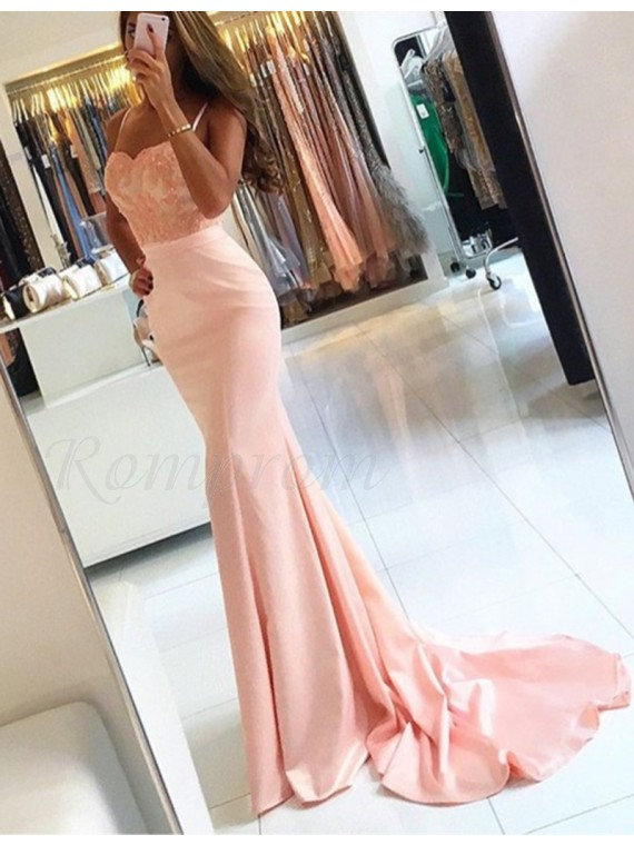 Mermaid Spaghetti Straps Pink Prom Dress with Appliques Sequins