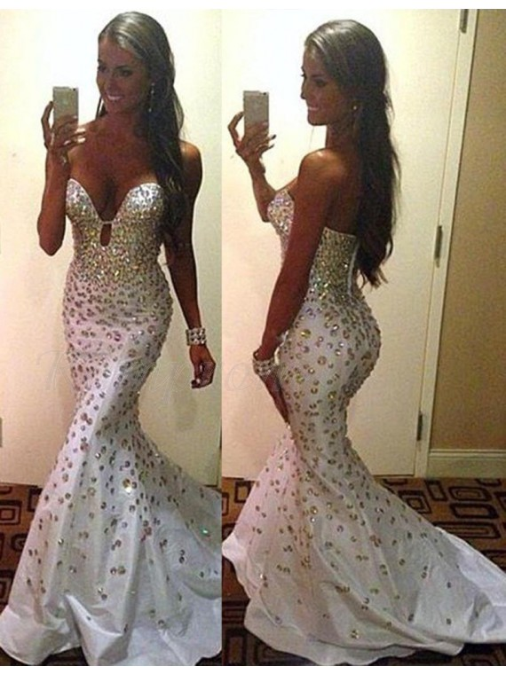Mermaid Sweetheart Sweep Train Ivory Prom Dress with Beading