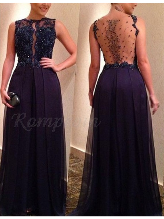 Gorgeous Jewel Long Illusion Back Navy Blue Prom Dress with Beading Lace