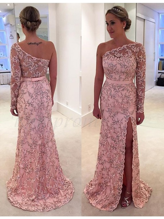 A Line One Shoulder Long Sleeves Pink Lace Prom Dress With Sash