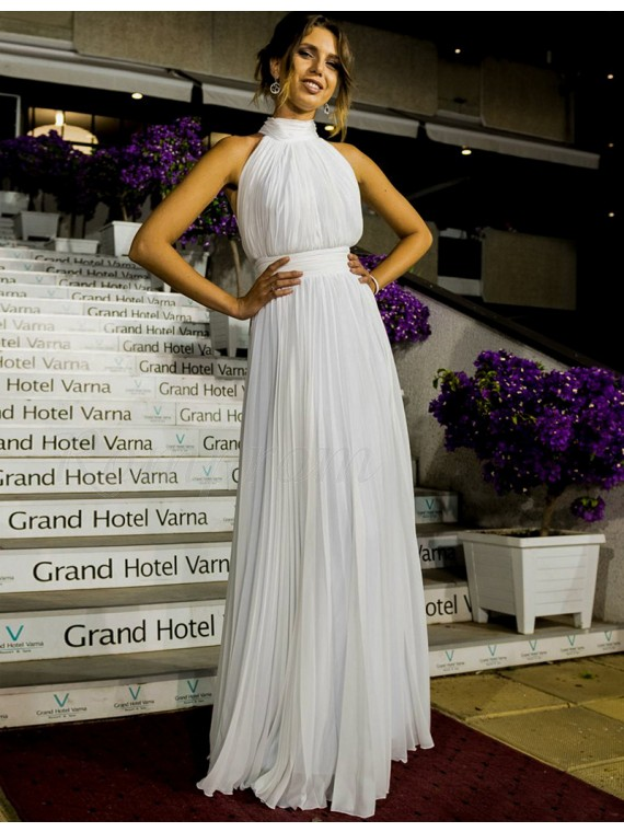 Youthful Round Neck Sleeveless Floor Length Pleated White Prom Dress