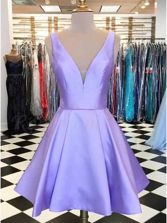 A-Line V-Neck Lilac Satin Simple Short Homecoming Dress