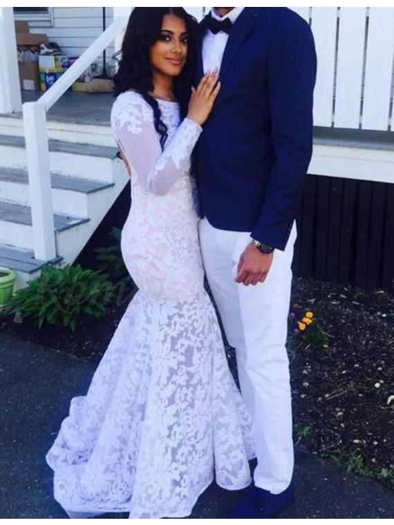 Mermaid Bateau Long Sleeves Backless White Lace Prom Dress